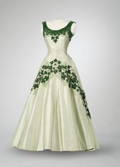 """The Maple Leaf of Canada"" evening dress designed by Norman Hartnell, worn by Queen Elizabeth II for the royal tour of Canada, 1957 From the Canadian Museum of History"