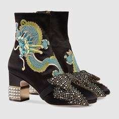 Gucci - Dragon Satin Mid-heel Ankle Boots