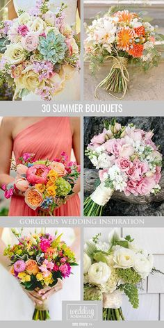 Wedding Bouquets ❤ Summer brides a lucky to have the most beautiful flowers in season for their wedding bouquet. See more: http://www.weddingforward.com/gorgeous-summer-wedding-bouquets/ #weddings #bouquets