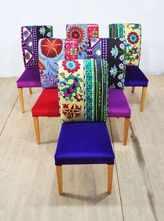 Six colorful dining chairs upholstered with vintage Suzani, Thai Hmong and velvet fabrics. Beautiful combination of lovely colors. The seats and outer parts are covered with velvet fabrics and the wood legs are nicely polished in natural color. Unique design may cheer you up and these multi purpose chairs can be used at home, restaurant, cafe, etc. End-to-end Dimensions (cm): width 45 x height 100 x depth 65 cm; seat height 45 cm - seat depth 45 cm End-to-end Dimensions (inches): width 17.7…