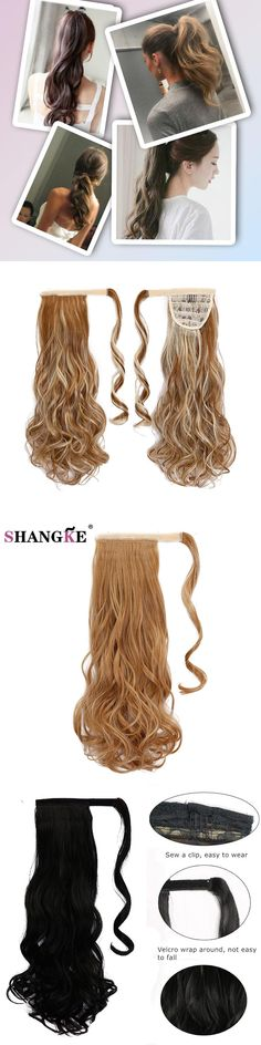 SHANGKE 12 Colors High Temperature Fiber Heat Resistant Synthetic Hair Curly Hairpiece Ponytail Hair Extensions Fake Hair