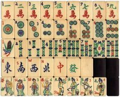 """Unique Mah Jong tiles based on Buddhist tale """"Heaven girls playing with flowers"""""""
