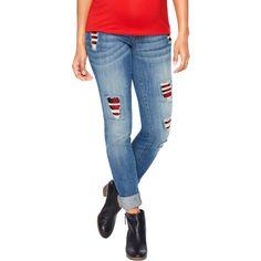 Motherhood Maternity Distressed Skinny Jeans, Medium Wash ($30) ❤ liked on Polyvore featuring jeans, skinny jeans, distressed skinny jeans, ripped jeans, destroyed denim skinny jeans and distressing jeans