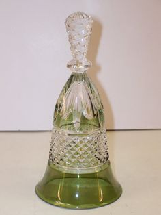 Vintage Crystal Clear and Green Flashed Pressed Glass Dinner Bell