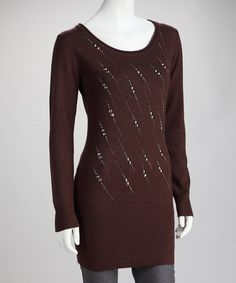 Take a look at this Brown Stud Streak Long-Sleeve Tunic by High Secret on #zulily today! $24.99