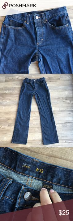 """J.Crew Denim Jeans Bootcut  Leg Size 4 Pre-owned J. Crew Women's Denim Jeans Size 4  Dark wash Medium Waist - Rise 9"""" Bootcut Leg - Ankle 8"""" flat Button fly closure 5 pocket style Thick denim - very little stretch and give Ankles look great - no fraying from walking Inseam 31"""" Waist Flat 14""""  Rise 9"""" Ankle Flat 8"""" No stains or holes Nonsmoking home J. Crew Jeans Straight Leg"""
