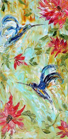 Original impasto painting Hummingbird Dance in OIL by Karensfineart
