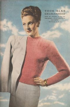 Vintage knitting free patterns, gratis breipatronen onder andere jaren 70 patronen: Breipatroon jaren '40 damestruitje met gratis breipatroon