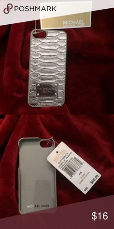 Michael Kors embossed leather phone case Brand new and authentic. The back is embossed leather with silver detailing. Fits iPhone 5 Michael Kors Accessories Phone Cases