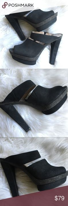 BNWT Rachel Roy Rffenwick Black Leather Platforms Brand new, never worn Rachel Roy black Rffenwick leather, nubuck, suede ish & cork platform mule slides. Have a bit of a metallic sheen. The detail/quality of these is beautiful. I have the box but it's really flimsy. Can ship with or without it. Size 7.  ⭐️Bundle for a Discount!⭐️ 🚭Smoke Free Home!🚭 RACHEL Rachel Roy Shoes Platforms