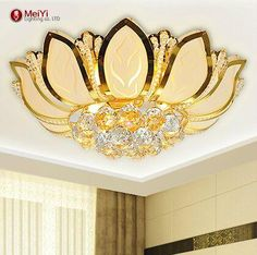 Lotus Flower Modern Ceiling Light With Glass Lampshade Gold Ceiling Lamp For Living Room Bedroom Lamparas De Techo Abajur From Adairs, $185.77 | Dhgate.Com