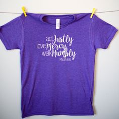 "Kids Micah 6:8 ""Act Justly, Love Mercy, Walk Humbly"" Tee"