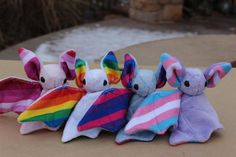Cute little bat stuffed animals for showing your gay pride, lesbian pride, bisexual pride, or trans Bisexual Pride, Gay Pride, Wallpaper Memes, Trans Pride Flag, Trans Flag, Pride Merch, Villainous Cartoon, Bubbline, Holi