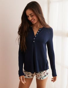 c3a587f67b48 Aerie Real Soft® Waffle Henley Tee, Navy. Sweaters And LeggingsMens OutfittersAmerican  Eagle ...