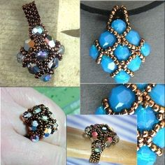 Jewelry Tutorial Pendant Necklace Ring - Celtic Blue and Copper Pendant and Cathedral Crystal Pendant and Ring No 51. $4.00, via Etsy.