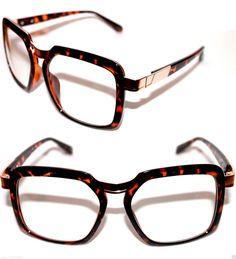 Men's Vintage 616 Design Clear Lens Eye Glasses Square Grandmaster Tortoise Gold #Stars #Square