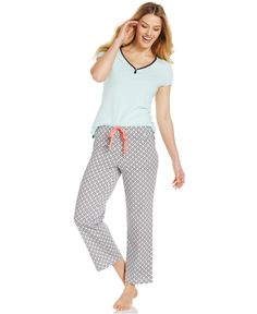 Nautica Short Sleeve Top and Geo Knit Pajama Pants - Bras 78482cec7