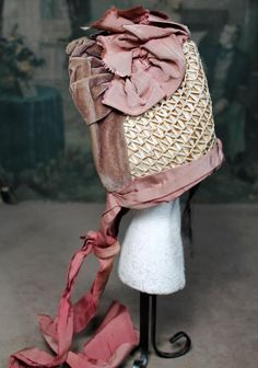 Fancy & Elaborate Antique French Doll Bonnet for Larger Doll from signaturedolls on Ruby Lane