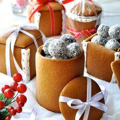 Gingerbread Boxes & Mason Jars - the jars are made by rolling dough around an empty can! No mixer or special equipment required for these.