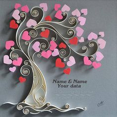 Original Paper Quilling Wall Art - The Love Tree. This is a one of a kind piece of art. This wall art is my own creation, I made it in a technique graphic quilling, using cardboard and pastel paper strips 10 mm wide. It is entirely handmade, using only paper. I cut paper strips by