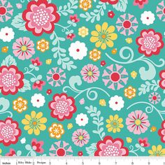 Fancy Free Fabric Main Floral on Aqua  from by 44thStreetFabric, $9.99