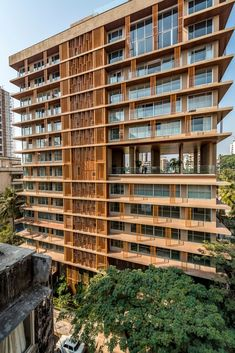 Image 1 of 23 from gallery of Pali Palms / SEZA. Photograph by Vinesh Gandhi System Architecture, India Architecture, Modern Architecture Design, Facade Design, Modern Buildings, Residential Architecture, Building Architecture, Building Elevation, Building Facade