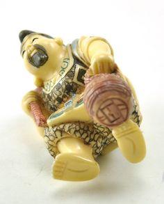 Old Japanese Wealth Deity Fortune Buddha Immortal Resin Statue Fisherman Fish | eBay