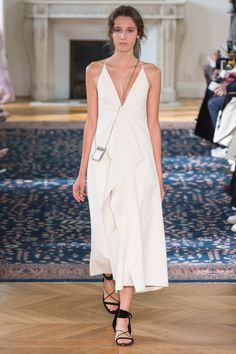 White V Neck Dress with Spaghetti Straps by Valentino - Spring 2017 Ready-to-Wear