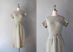 1950s Wiggle Dress / Vintage 50s Fitted Day Dress / by HolliePoint