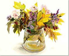 Цветочные акварели Hashimoto Fujico