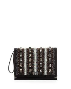 Beaded Flap Wristlet Clutch Bag, Creme/Black by JASON WU at Neiman Marcus Last Call.