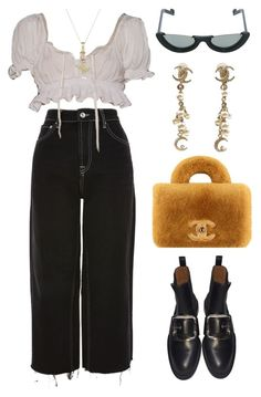 """Untitled #1664"" by lucyshenton ❤ liked on Polyvore featuring Topshop, PAWAKA, Chanel and Givenchy"