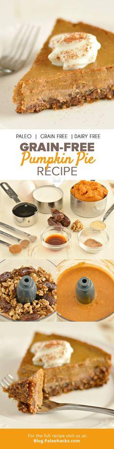 Grain-Free Pumpkin Pie Recipe  #justeatrealfood #paleohacks