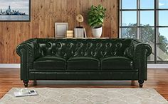 Classic Scroll Arm Real Leather Chesterfield Sofa (Off-White), Green Classic Sofa, Modern Classic, Bedroom Couch, Corner Couch, Chesterfield Sofa, Home Furniture, Love Seat, Upholstery, Arm