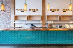 Turquoise paseo Tile for kitchen backsplash. Love the shape