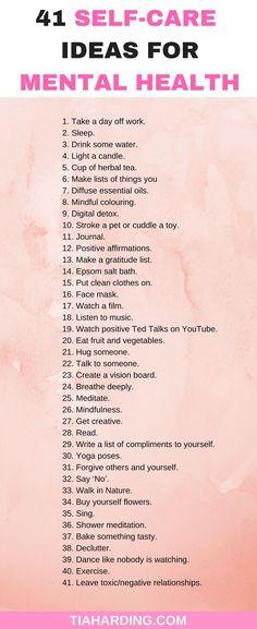 41 self-care ideas for mental health. #selfcare #mentalhealth