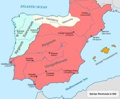 Reino Visigótico (ano 500 d.C.) / http://it.m.wikipedia.org/wiki/Spagna_visigota