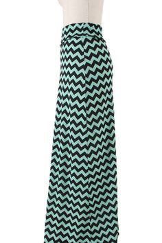 Mint & Black Chevron Maxi Skirt