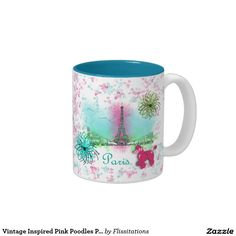 Vintage Inspired Pink Poodles Paris Theme Two-Tone Coffee Mug