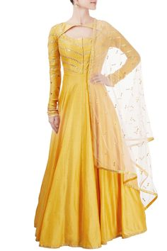Buy Yellow anarkali set with gota patti by Matsya at Aza Fashions Indian Gowns, Indian Wear, Indian Outfits, Stylish Dresses, Simple Dresses, Fashion Dresses, Amazing Dresses, Kurta Designs, Blouse Designs