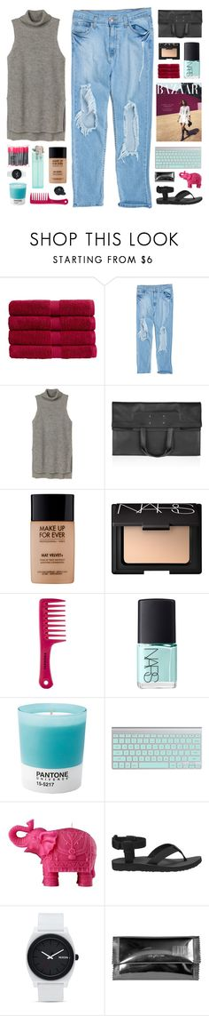 """""""BAZAAR combination"""" by virgo-queen ❤ liked on Polyvore featuring Christy, Monki, Maison Margiela, MAKE UP FOR EVER, NARS Cosmetics, Sephora Collection, Pantone, Mario Luca Giusti, Teva and Nixon"""