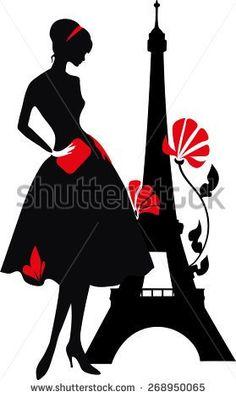 ESZAdesign (Svetlana Zdanchuk) Retro woman red and black silhouette with Eiffel Tower - stock vector