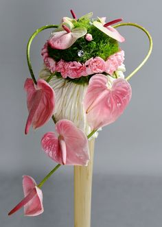 Pink anthurium flowers with pink and green(green trick) carnations