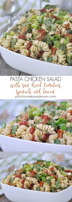 Pasta Chicken Salad with Sun-Dried Tomatoes, Spinach and Bacon Recipe via Your Homebased Mom - packed with sun dried tomatoes, spinach and bacon. So yummy! Easy Pasta Salad Recipes - The BEST Yummy Barbecue Side Dishes, Potluck Favorites and Summer Dinner Party Crowd Pleasers