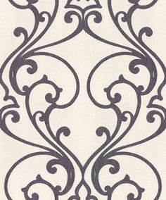 Ornate Trellis - Albany Wallpapers - A pretty open ornate trellis design, drawn in purple covered in bright purple glitter, on an off white grainy textured background. Available in other colours. Please request sample for true colour match.