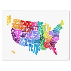 Trademark Art United States Text Map Canvas Wall Art by Michael Tompsett, Size: 22 x Multicolor