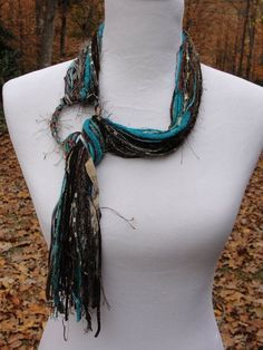 Light Weight Ring Scarf in Rich Shades of Dark Brown and Turquoise with Gold Highlights Yarn Necklace, Fabric Necklace, Scarf Jewelry, Textile Jewelry, Fabric Jewelry, Jewelry Art, Scarf Knots, Ribbon Yarn, Gold Highlights