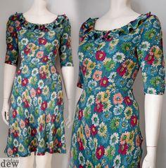 CATH KIDSTON original tea dress 1940 S vintage WW2  LAND GIRL floral 10 RARE!