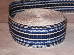 Bright blue, navy blue, and white hand-woven inkle trim (over 14 feet)