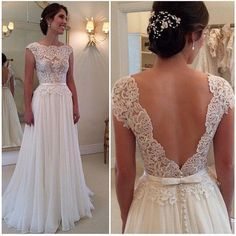2015 Newest Trend Vestidos De Noiva A Line Sheer Wedding Dresses Backless Sexy Summer Beach Bridal Gowns Lace Appliques Cap Sleeves Chiffon, $137.7 | DHgate.com